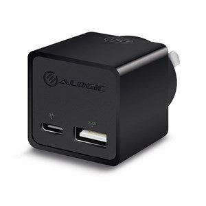 ALOGIC 2 PORT COMBO USB-C & USB-A MINI WALL CHARGER 3A +2.4A