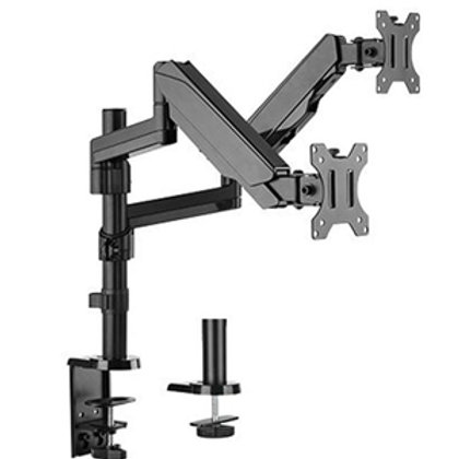 "Brateck 17-32"" Dual Monitor Gas Spring Stand with Clamp/Grommet Base"