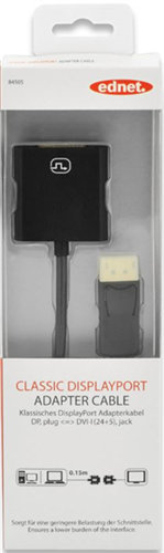Ednet DisplayPort (M) to DVI-I (F) Adapter Cable