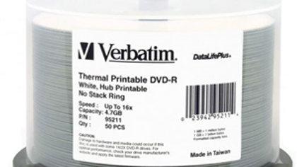 Verbatim DVD-R 4.7GB 16x Wht Wide Thermal Printable 50 Pack on Spindle
