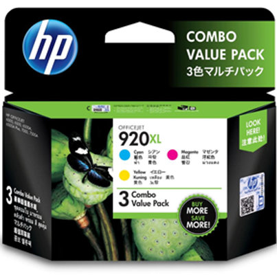 HP 920XL High Yield 3-Colour Ink Cartridges Pack CMY COMBO
