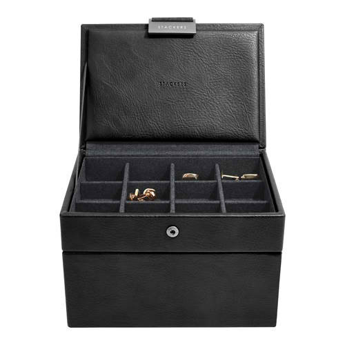 STACKERS MINI MENS WATCH AND CUFFLINK SET 2 BLACK