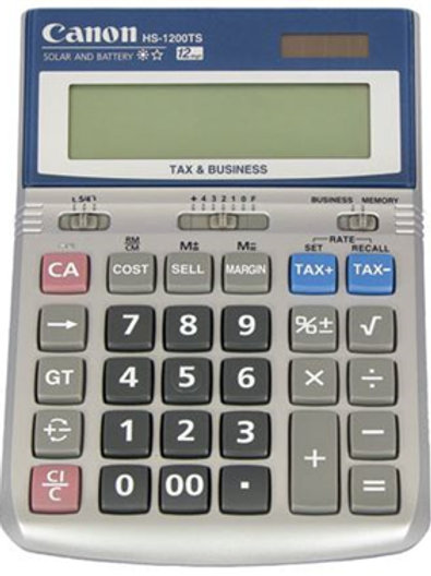 Canon HS-1200TS Solar & Battery 12 Digit Calculator with Tax