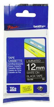 Brother TZe-335 12mm x 8m White on Black Tape