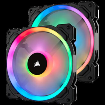 CORSAIR LL SERIES, LL140 RGB, 140MM DUAL LIGHT LOOP RGB LED PWM FAN, 2 FAN PACK