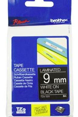 Brother TZe-325 9mm x 8m White on Black Tape