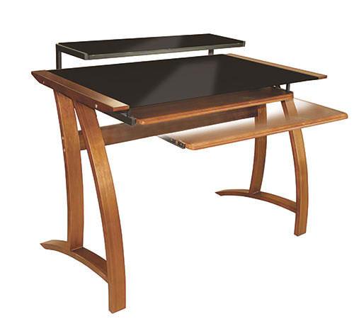 OMP COMPUTER TABLE WALNUT/BLACK GLASS ROTORUA CT101-1