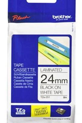 Brother TZe-251 24mm x 8m Black on White Tape