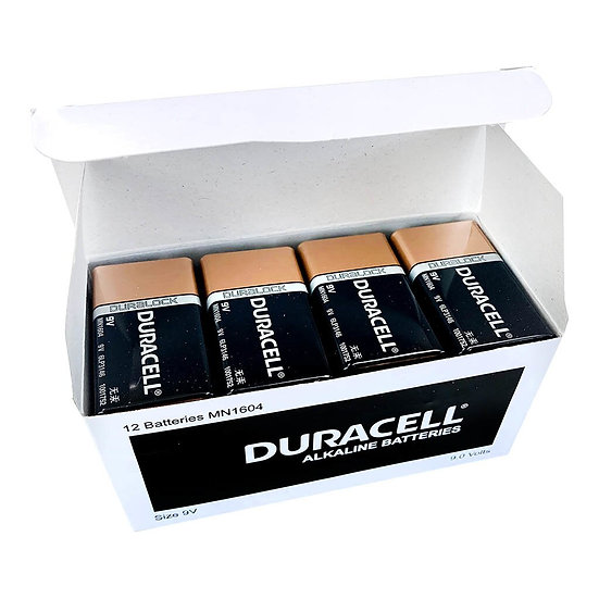 Duracell Coppertop Alkaline 9V Battery Bulk Pack of 12