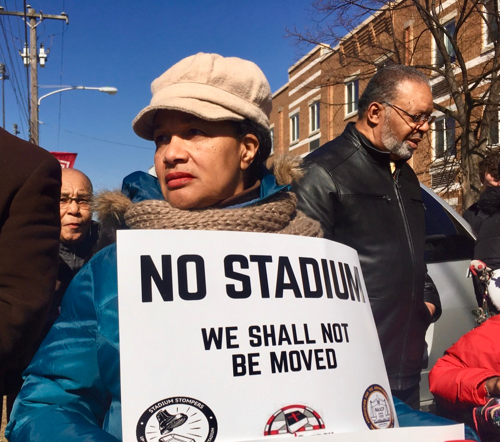 Local Residents Protest Temple Stadium Plans.