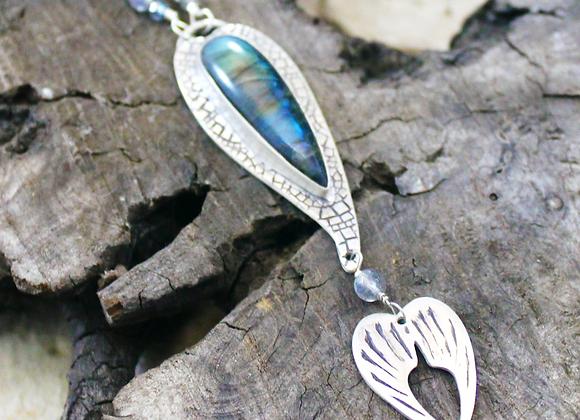 Mermaid Dance Pendant, Fine Silver & Labradorite