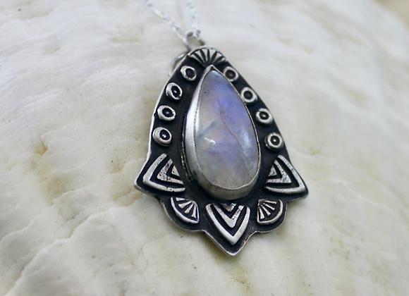 Fiesta Moon Pendant, Fine Silver Rainbow Moonstone