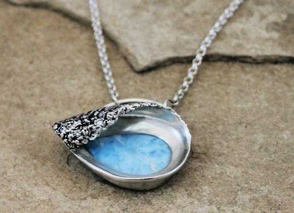 Into The Blue,  Sculpted Wave Larimar Pendant