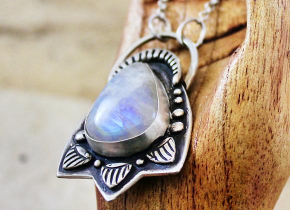 Raven Moon Pendant, Rainbow Moonstone Fine Silver