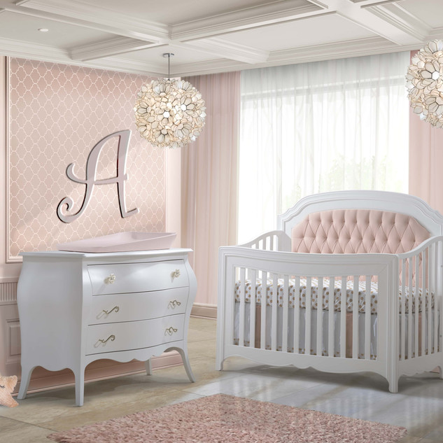 Allegra w/ Blush Tufted Panel in Pure White