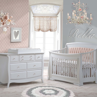 Bella w/ Blush Tufted Panel in Pure White
