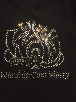 WOW T-SHIRT LARGE BORDER RHINESTONE