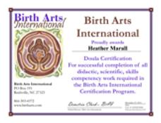 BAI diploma for heather marall birth doula