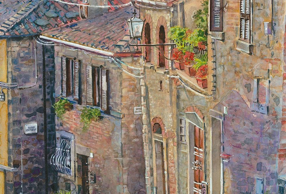 B21. Steep Paved Street Arezzo.