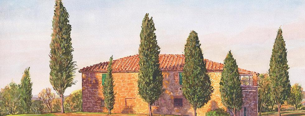 B25. Villa with Cyprus Trees Arezzo.