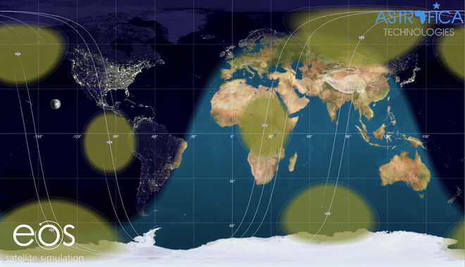Footprint of the 4 satellites