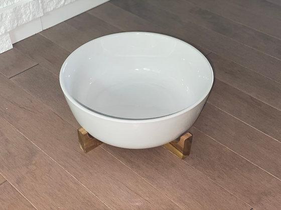 large serving bowl with trivet