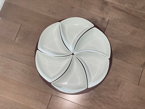 lazy susan swirl server with porcelain bowls