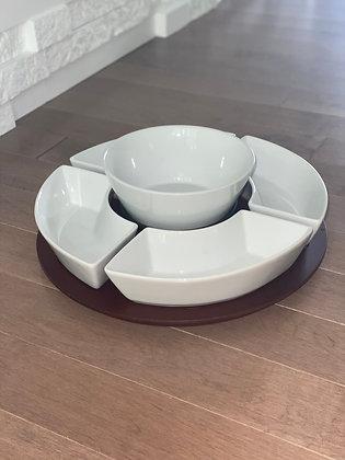 multiserver with porcelain bowls