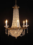 Weiss & Biheller Brass Chandeliers Decorated with Crystals