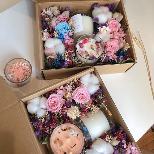 Pink & Blue Preserved Flowers Gift Box Set