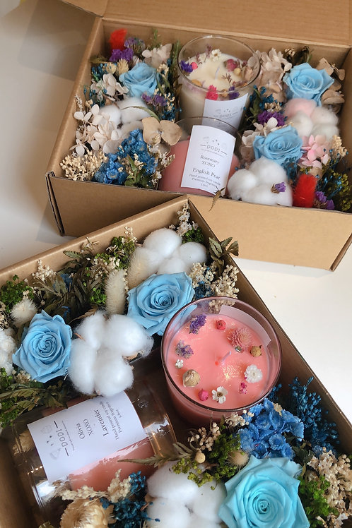 Blue Preserved Flowers Gift Box Set
