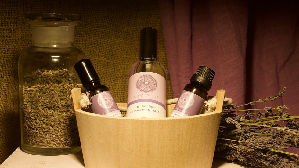 """SMALL WOODEN TUB WITH """"THE ESSENTIALS"""""""