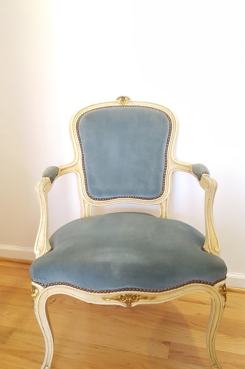Dusty Blue Louis XV  Arm Chair w/ Guilded Detail
