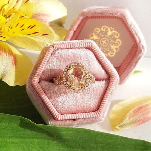 Heirloom Pink Velvet Hexagon Ring Box