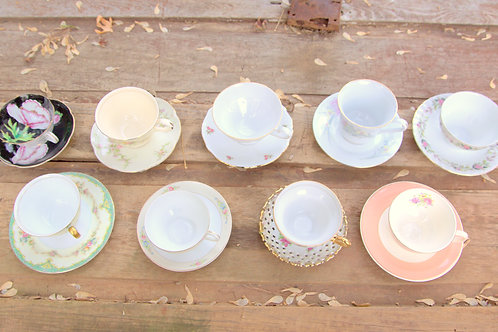Mismatched Antique and Vintage Tea Settings