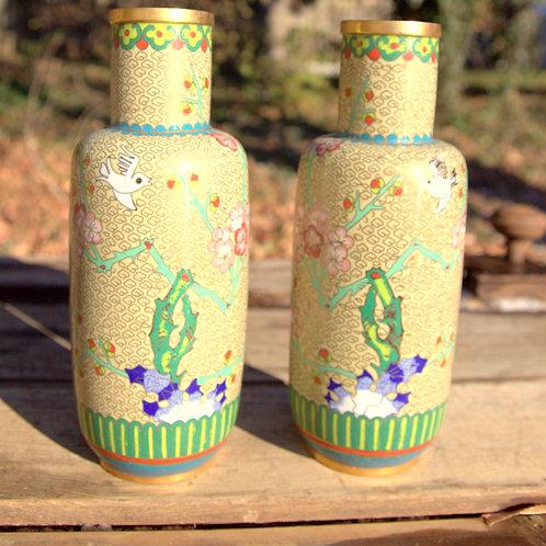 Yellow with Birds Cloisonné Vase