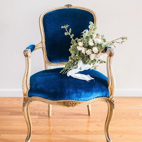 Antique Royal Blue Velvet Armchair