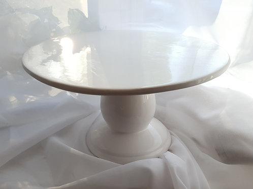 """White 9"""" Ceramic Cake Stand"""
