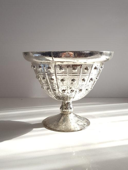 Silver Mercury Glass Compote