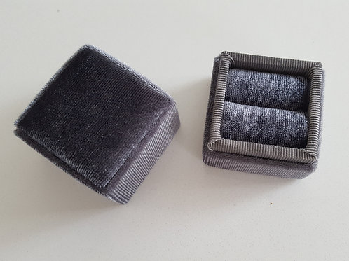 Heirloom Steel Gray Velvet Ring Box