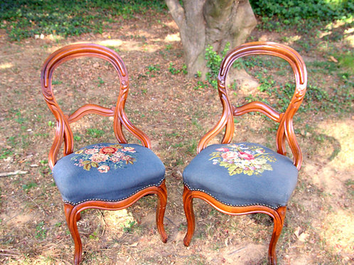 Blue Floral Patterned Victorian Balloon Chairs