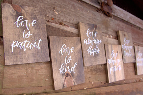 "Wood ""Love..."" Signs Set"