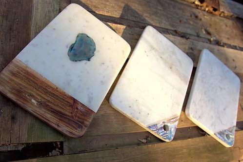 Marble Wood Shell Accented Marble Serving Board