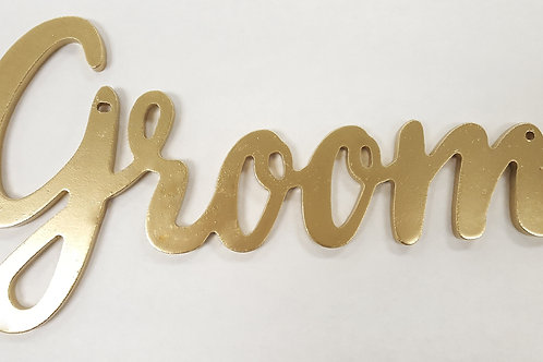 Gold Hanging Groom Sign