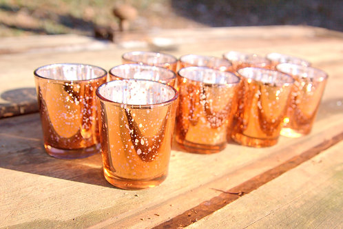 Rose Gold Copper Mercury Glass Votive Holders