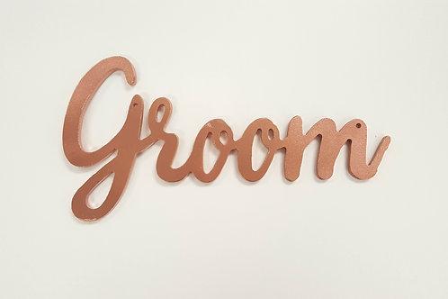 Copper Rose Gold Groom Sign