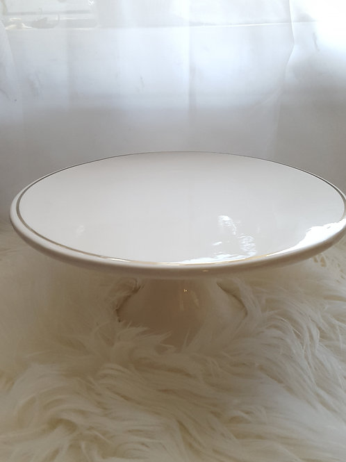 Ivory Gold Rimmed Ceramic Cake Stand