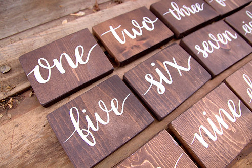 Wood Table Number Signs