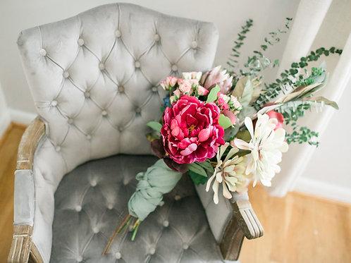 Gray Tufted Armchair