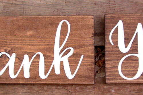 "Wood ""Thank You"" Signs"